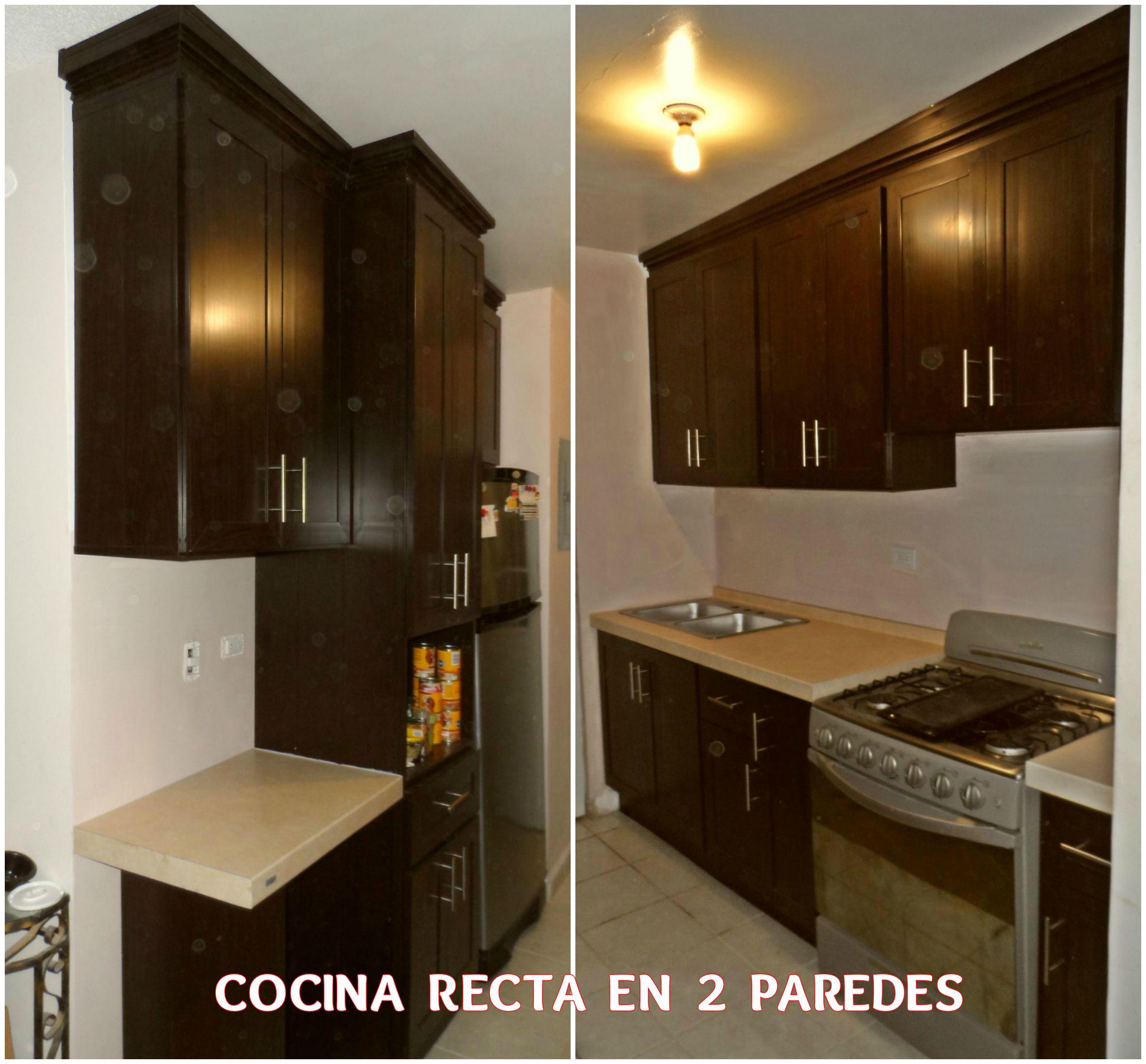 Cocina de pvc recta en 2 paredes for Tipos granitos para cocinas